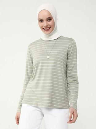 Khaki - Stripe - Crew neck - Blouses - Casual