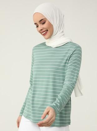Green Almond - Stripe - Crew neck - Tunic - Refka Casual