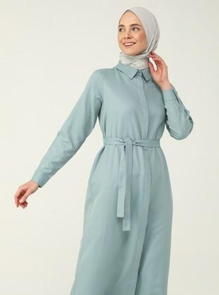 Mint - Point Collar - Unlined - Modest Dress