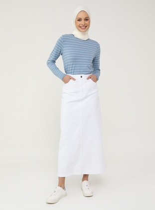 Natural Fabric Contrast Stitching Denim Skirt- White