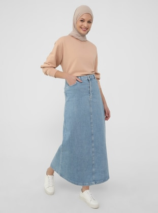 Natural Fabric Contrast Stitching Denim Skirt-Blue