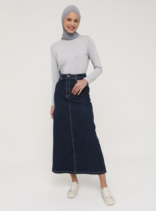 Natural Fabric Contrast Stitching Denim Skirt- Indigo