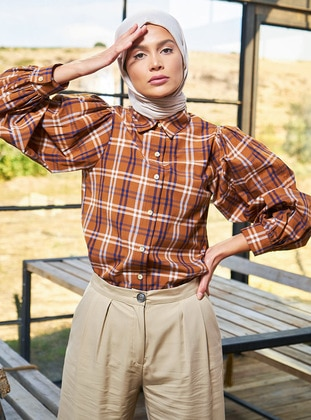 Brown - Plaid - Point Collar - Tunic