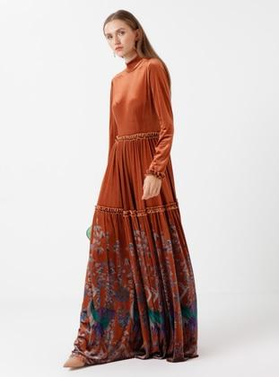 Terra Cotta - Multi - Polo neck - Dress