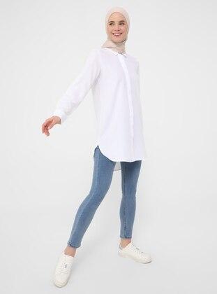 White - White - Point Collar - Tunic - Refka