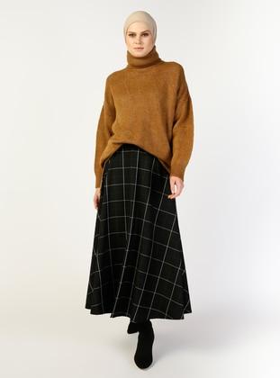 Black - Checkered - Unlined - Skirt - Valluna