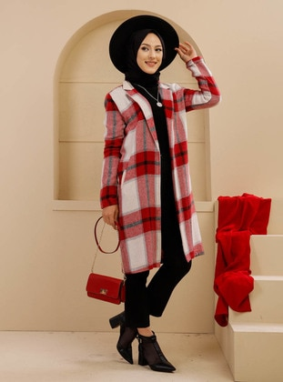 Red - Checkered - Unlined - Shawl Collar - Topcoat