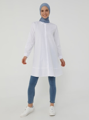 Oxford Fabric Mevlana Shirt with Trimmings - White - Basic