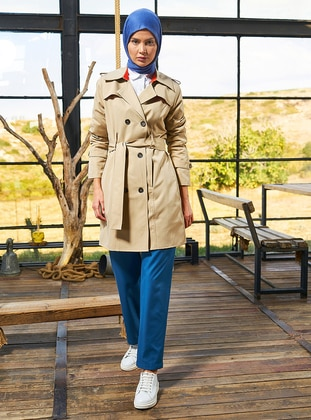 Stone - Unlined - Shawl Collar - Trench Coat