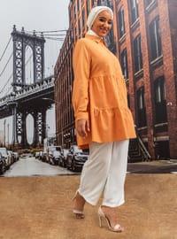 Orange - Point Collar - Plus Size Tunic