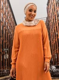 Oversize Pleat Detailed Dress - Peach
