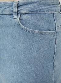 Natural Fabric Contrast Stitching Denim Skirt-Blue