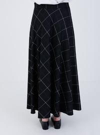 Black - Checkered - Unlined - Skirt