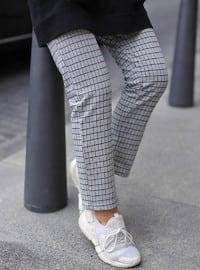 Gray - Checkered - Pants