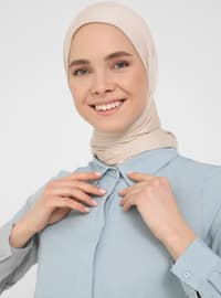 Blue - Point Collar - Unlined - Modest Dress - Basic