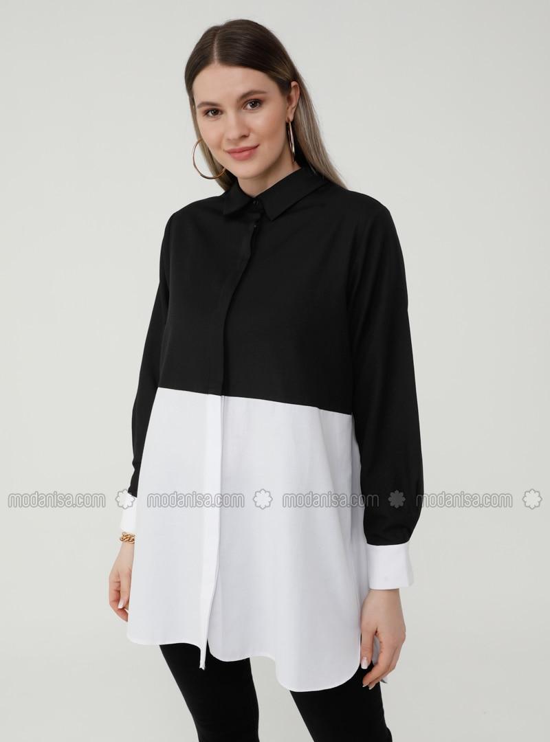Oversize Hidden Button Placket Garni Tunic - Black White