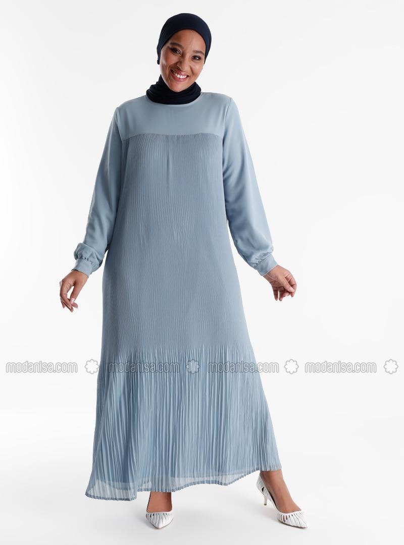 Oversize Pleat Detailed Dress - Ice Blue