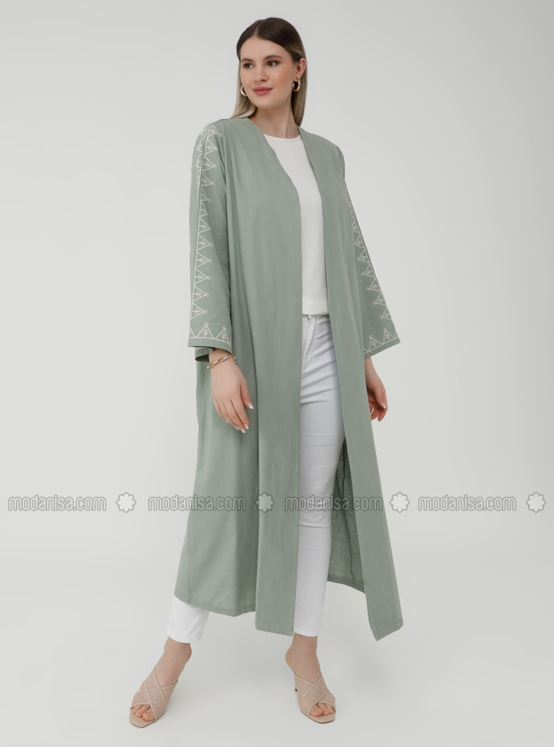 Natural Fabric Sleeves Embroidery Detailed Cape - Oil Green