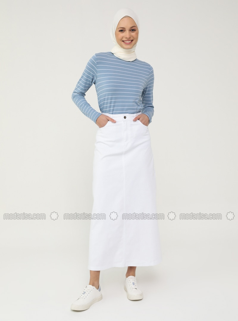 Natural Fabric Contrast Stitching Denim Skirt- White