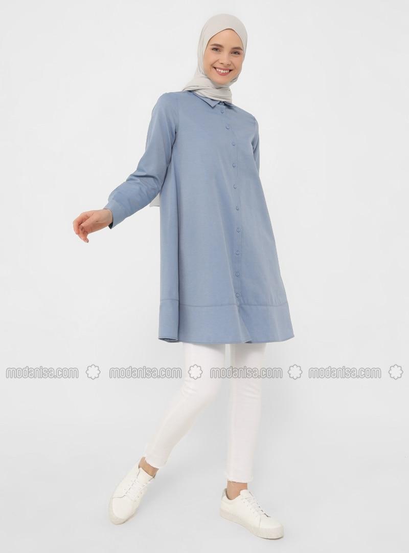 Oxford Fabric Mevlana Shirt with Trimmings - İndigo - Basic
