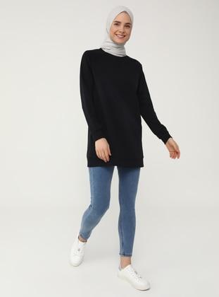 Basic Sweatshirt - Navy Blue - Basic