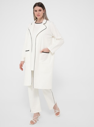 Oversize Natural Fabric Knitted Tracksuit Set - White Black