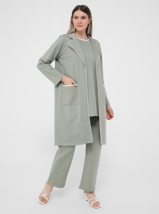 Oversize Natural Fabric Knitted Tracksuit Set - Oil Green White
