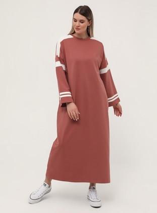 White - Salmon - Unlined - Crew neck - Plus Size Dress