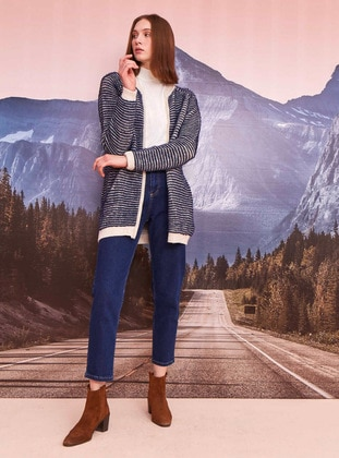 Blue - Stripe - Unlined - Knit Cardigans