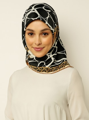 Brown - Black - Printed - Scarf