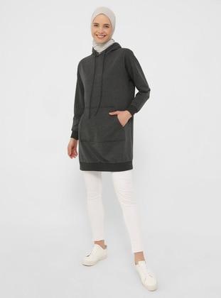 Sweatshirt with Hood - Anthracite - Basic