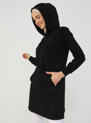 Sweatshirt with Hood - Black - Basic
