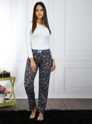 Navy Blue - Multi - Pyjama - AKBENİZ