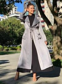 Gray - Unlined - Shawl Collar - Trench Coat