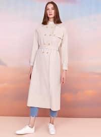 Cream - Unlined - Shawl Collar - Trench Coat