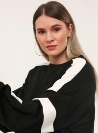 Büyük Beden Doğal Kumaş Spor Elbise -Siyah Beyaz
