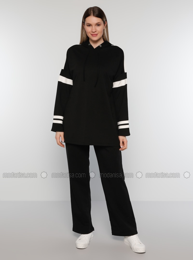 Black - Plus Size Tracksuit Sets