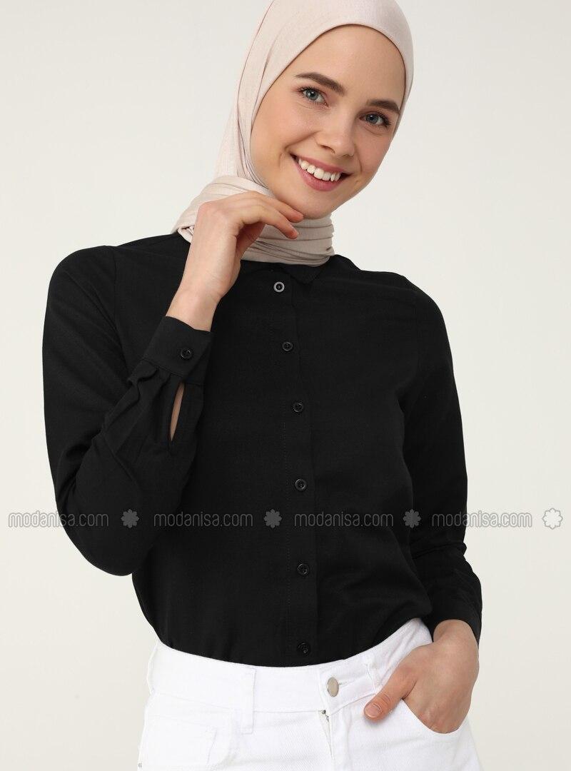 Black - Black - Point Collar - Blouses