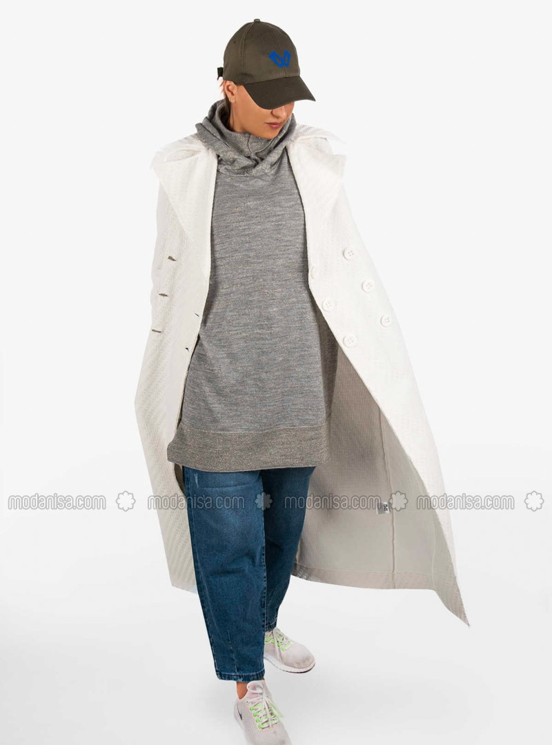 White - Unlined - Shawl Collar - Trench Coat