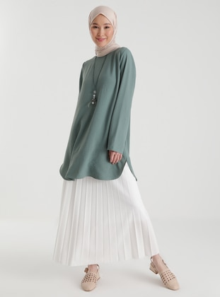 Lined Pleated Full Length Skirt 95 cm - Ecru - Woman