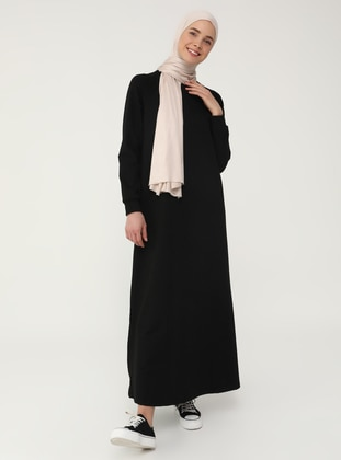 Black - Black - Crew neck - Unlined - Modest Dress - Refka