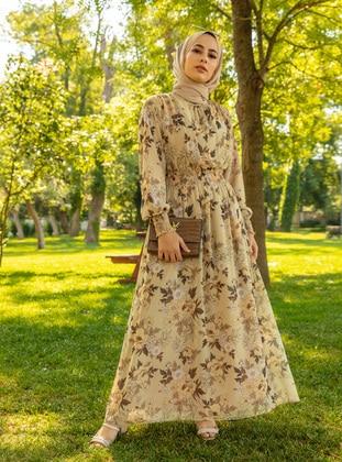 Cream - Floral - Crew neck - Half Lined - Modest Dress - Woman