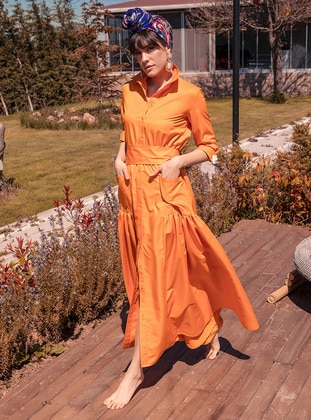 Orange - Unlined - Point Collar - Muslim Evening Dress
