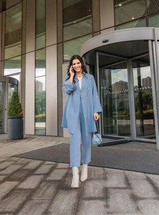 Oversize Jacket&Trousers Evening Dress Set - Ice Blue - Alia