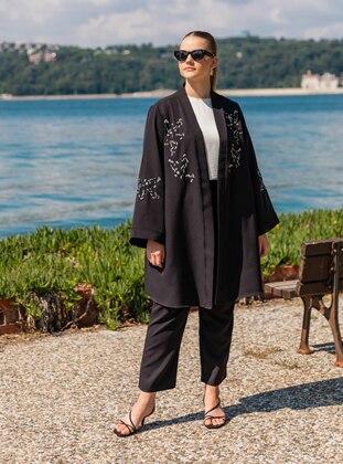 Oversize Jacket&Trousers Evening Dress Set - Black - Alia