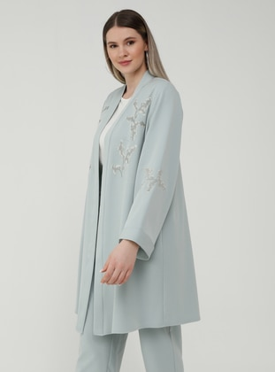 Oversize Jacket&Trousers Evening Dress Set - Sea Green