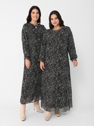 White - Black - Multi - Fully Lined - Crew neck - Plus Size Dress - Alia