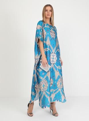 Multi - Printed - Multi - Crew neck - Unlined - Dress - Galeri Tunç