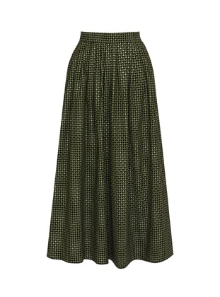 Unlined - Navy Blue - Green - Evening Skirt