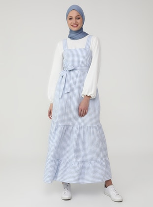 Blue - Gingham - Sweatheart Neckline - Unlined - Modest Dress
